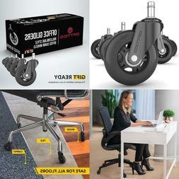 Office Chair Caster Wheels  - Best Black 3 Inch Desk Chair W