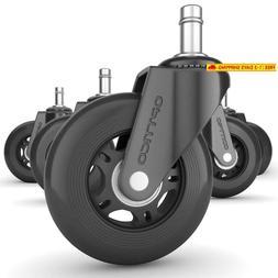 Opttico Office Chair Caster Wheels  - Black 3 Inch Desk Chai