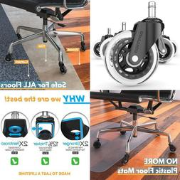 Office Chair Caster Wheels  - Set of 5, No More Desk Roller