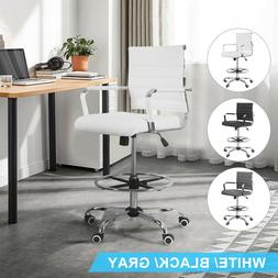 Office Drafting Chair Leather PU  Adjustable Computer Seat E