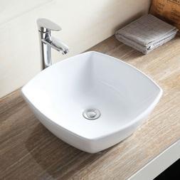 Ceramic Porcelain Bathroom Sink Vessel Bowl Basin w/ Pop Up