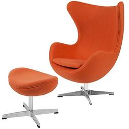 Flash Furniture Orange Wool Fabric Egg Chair with Tilt-Lock