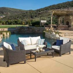 Christopher Knight Home Outdoor Antibes 4-piece Wicker Chat