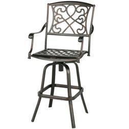 Outdoor Cast Aluminum Patio Chair Swivel Bar Stool Antique C