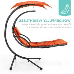 outdoor hanging curved steel chaise lounge chair