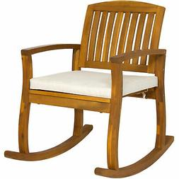 Outdoor Patio Acacia Wood Rocking Chair W/ Removable Seat Cu