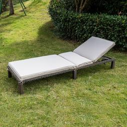 Outdoor Patio Brown Wicker Chaise Pool Lounge Chair Adjustab