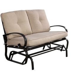 Giantex Outdoor Patio Rocking Bench Glider Loveseat Cushione