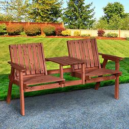 Outsunny Outdoor Patio Wooden Double Chair Garden Bench with