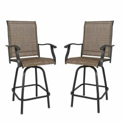 Outdoor Swivel Bar Stools Patio High Chairs with Sling Seat