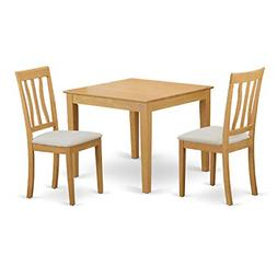 East West Furniture OXAN3-OAK-C 3 Piece Table and 2 Chair Se