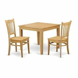 East West Furniture OXGR3-OAK-W 3 Piece Dinette Table and 2
