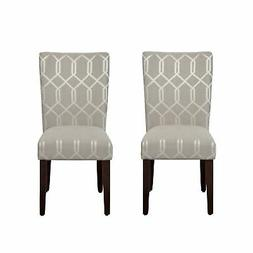 HomePop Parsons Dining Chair Upholstered Accent 2 Set Pewter