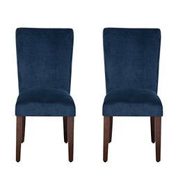 HomePop Parsons Velvet Accent Dining Chair, Set of 2, Navy