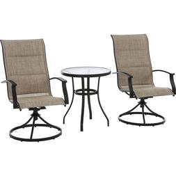Patio Bistro Table And Swivel Rocking Chairs Set Outdoor Fur