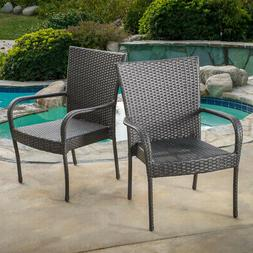Patio Dining Chair Gray Stackable Wicker Outdoor Weather Res