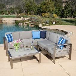 Patio Furniture Set Metal 4 Piece Outdoor Cushions Sofas Cha