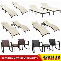 Patio Poly Rattan Pool Sun Lounger Set Table Chair Sunbed Ch