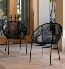 Patio Wicker Chairs 2 Round Chair Set Woven Seats Outdoor Di