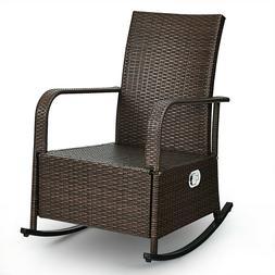 Patio Wicker Porch Garden Lawn Reclining Rocking Chair