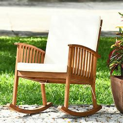 Patio Wooden Rocking Chair Lawn Garden Outdoor w/ Armrest Cu