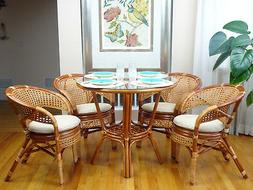 Pelangi Rattan Wicker Set of 4 Chairs w/Cushion and Round Di
