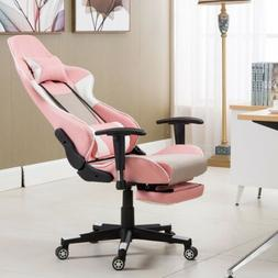 Pink High Back PU Leather Ergonomic Computer Gaming Chair Se