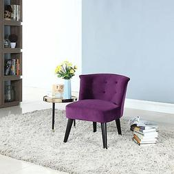 Purple Plush Velvet Living Room Accent Chair with Tufted Det
