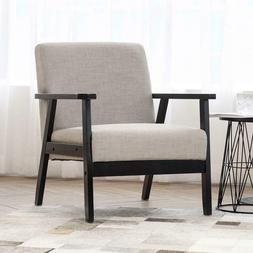 PWZZ Mid-Century Modern Upholstered Fabric Chair with Solid