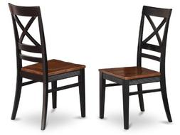 East West Furniture QUC-BLK-W Dining Room Chair Set with X-B