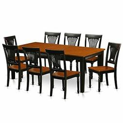 East West Furniture QUPL9-BCH-W 9 Piece Dining Table and 8 S