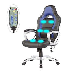 6 Point Racing Game Massage Chair Leather Ergonomic Computer