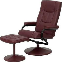 Recliner Chair With Ottoman For Living Room Burgundy Leather