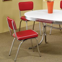 Red Retro Dining Chair 2 Pack 50's Diner Chrome Kitchen Fu