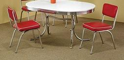 Red Retro Dining Chairs Chrome Vinyl Vintage 50's Diner Styl