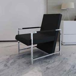 Relax Armchair with Chrome Feet Artificial Leather Seat Chai