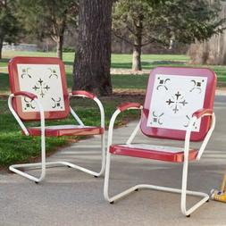 Retro Metal Lawn Chair Porch Armchair Outdoor Vintage Patio