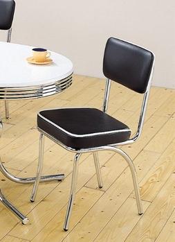 Set of 2 Retro Nostalgic Style Black Finish Dining Chairs