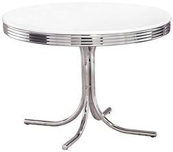 Coaster Retro Round Dining Kitchen Table in Chrome White