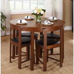 Round Dining Table Set For 4 With Chairs Walnut Wood Kitchen