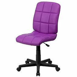 SALE Mid-Back Purple Quilted Vinyl Swivel Task Chair Kitchen