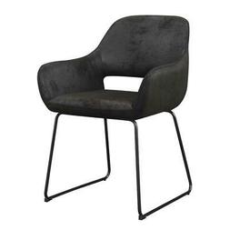 Convenience Concepts Samantha Accent Chair in Black Linen Fa
