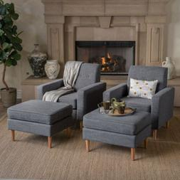 Samuel Mid Century Modern Fabric Club Chair and Ottoman Set