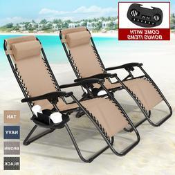 Set of 2 Adjustable Zero Gravity Chair Patio Folding Beach R