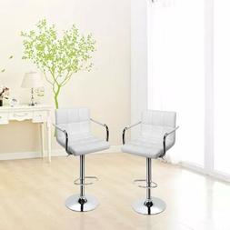 Set of 2 Bar Stools Adjustable Modern Swivel Dining Chair Co