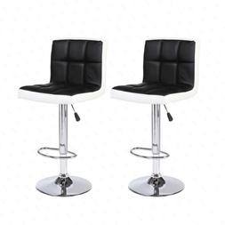 Set of 2 Bar Stools Adjustable Swivel Pub Chairs Black and W