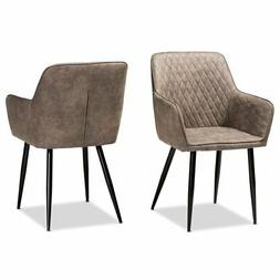 Set of 2 Baxton Studio Belen Grey and Brown Upholstered Dini