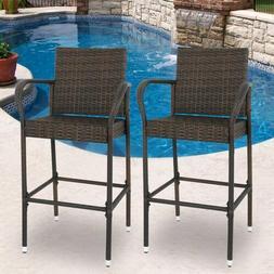 Wicker Bar Stool Rattan Chair Patio Furniture Chair Outdoor
