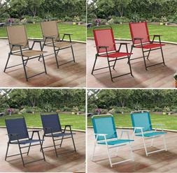 Set Of 2 Comfortable Folding Lawn Chairs Patio Seating Yard