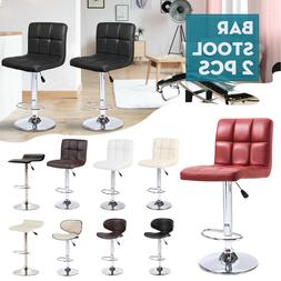 Set of 2 Counter Leather Bar Stools Adjustable Swivel Pub Ch